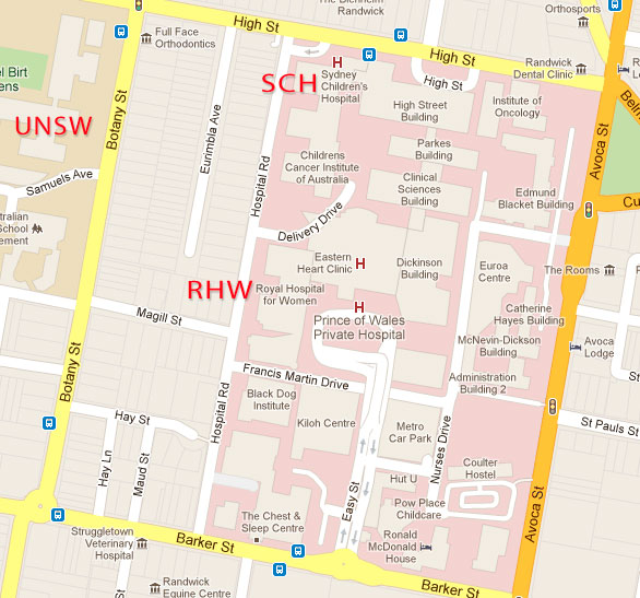 Randwick hospitals campus  map